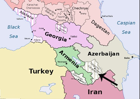 Azerbaijan Suffragio - Georgia map 1918