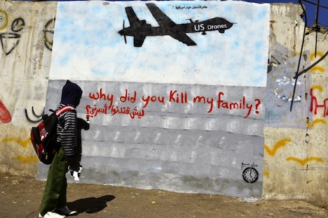 Epa A Yemeni Boy Looks At A Graffiti Depicting A Us Drone At A Street In Sanaa Yemen  Reports State The Us Launched At Least