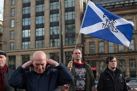 A rally in George Square to celebrate the passing and funeral day of Baroness Margaret Thatcher, in Glasgow, Scotland, on Wednesday 17th April 2013.