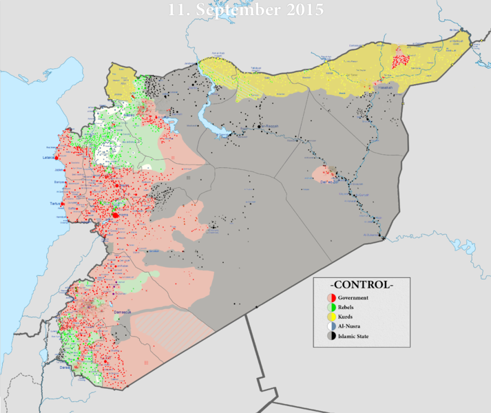 A look at which groups control Syria, as of September 2015. (Wikipedia)