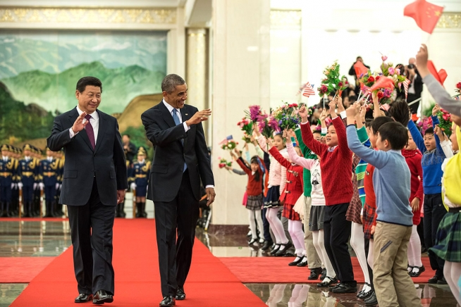 US president Barack Obama and Chinese president Xi Jinping arrive at Beijing's Great Hall of the People in November 2014 (White House).