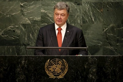 Even though Ukraine's president Petro Poroshenko spoke at the UN General Assembly, it's hard not to think of Ukraine as an afterthought in US-Russian relations. (Mike Segar/Reuters)
