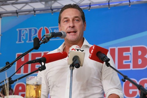 Freedom Party leader Heinz-Christian Strache is all smiles campaigning during Oktoberfest.