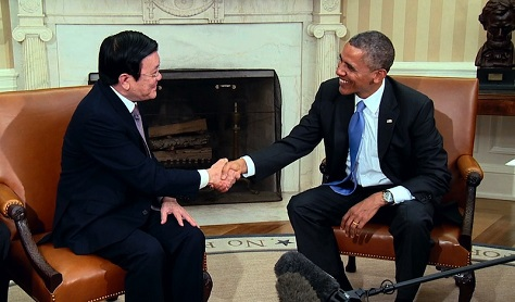 Vietnamese president Trương Tấn Sang met with US president Barack Obama at the White House in July 2015. (White House)