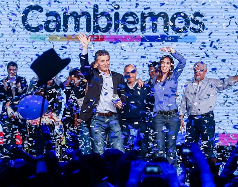 Opposition presidential candidate Mauricio Macri and María Eugenia Vidal, now governor-elect of Buenos Aires province, celebrate on the night of the August primaries.