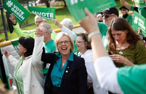 Green leader Elizabeth May hopes to double her party's caucus to two MPs. (Chad Hipolito / Canadian Press)