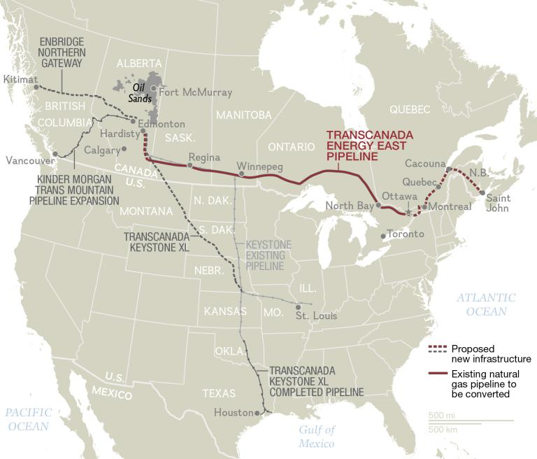 A National Geographic-designed map that lays out Canada's major proposed oil pipelines.(National Geographic)