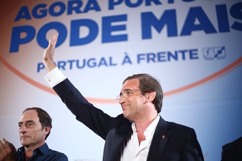 Portuguese prime minister Pedro Passos Coelho and his deputy and foreign minister, Paulo Portas, campaign for reelection for their center-right government. (Facebook)