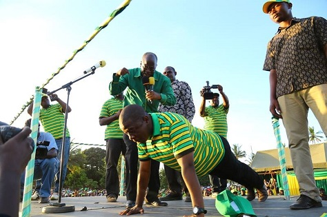 Works minister John Magufuli performed push-ups on the campaign trail to show his fitness for office. (Facebook)