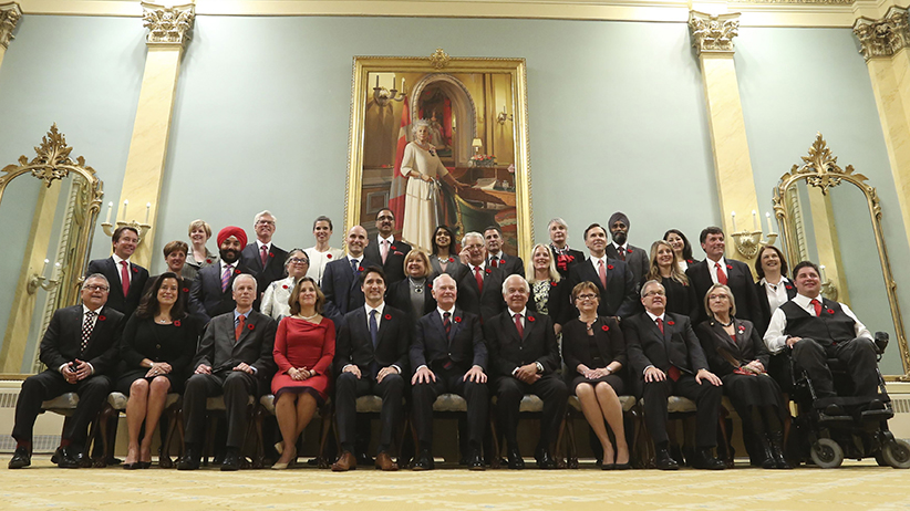 Canada's 23rd prime minister Justin Trudeau and his new cabinet, all sworn in on November 4 at Rideau Hall in Ottawa. (Chris Wattie / Reuters)