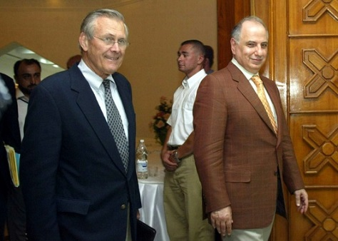 Former US defense secretary Donald Rumsfeld relied in significant part of Ahmed Chalabi and the INC in the prelude to the 2003 Iraq invasion. (Rabih Moghrabi / AFP)