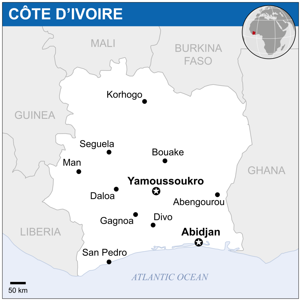 Côte d'Ivoire is surrounded by more stable countries like Ghana and more unstable countries like Mali.