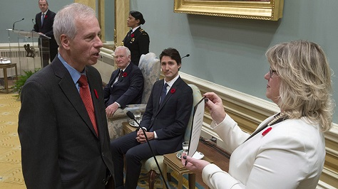 Stephane Dion is sworn in as Minister of Foreign Affairs. (Adrian Wyld / Canadian Press)
