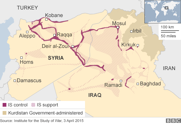 Raqqa, in Syria's northeast, is the de facto capital of the Islamic State's so-called caliphate. (BBC)