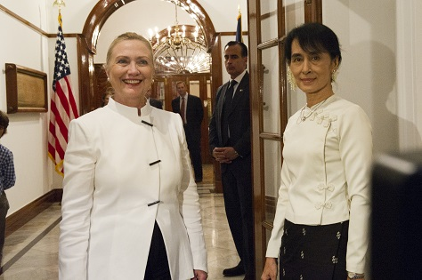 Hillary Clinton, during her tenure as US secretary of state, traveled to Myanmar to visit Aung San Suu Kyi. (US State Dept.)