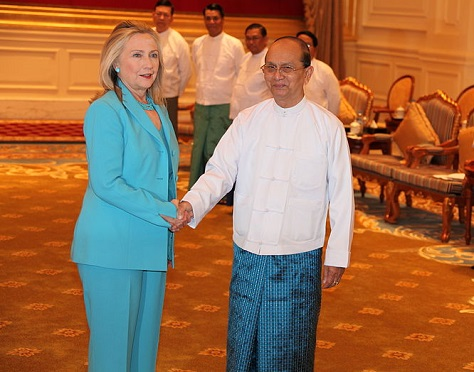 US secretary of state Hillary Clinton met Myanmar's president Thein Sein for the first time in 2011. (US state department).