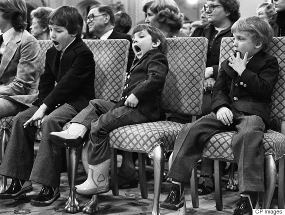 Justin (at left) joins brother Michel, and sister Alexandre at father Pierre Trudeau swearing in ceremony in 1980. (Ron Poling / CP Photo)