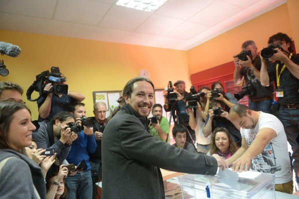 Pablo Iglesias, a founder and leading spokesperson for the Podemos movement, has cause to be delighted with Sunday's result. (Twitter)