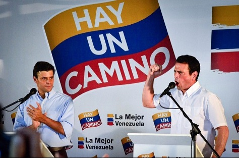 Henrique Capriles (right) and Leopoldo López (left) campaigned together in the 2013 presidential election.