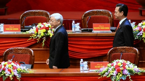 The general secretary of Vietnam's Communist Party, Nguyen Phu Trong (left) is seen to have fended off a challenge from outgoing prime minister Nguyen Tan Dung (right). (CTV)