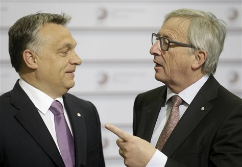 At an EU summit in Riga in May 2015, European Commission president Jean-Claude Juncker jokingly greeted Hungarian prime minister Viktor Orbán as the 'dictator.' (Reuters)