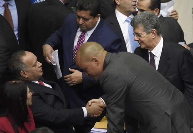 Chavista capo Diosdado Cabello, the outgoing National Assembly president, shook hands briefly with his successor, Henry Ramos Allup, before the chavista benches walked out of the legislature.