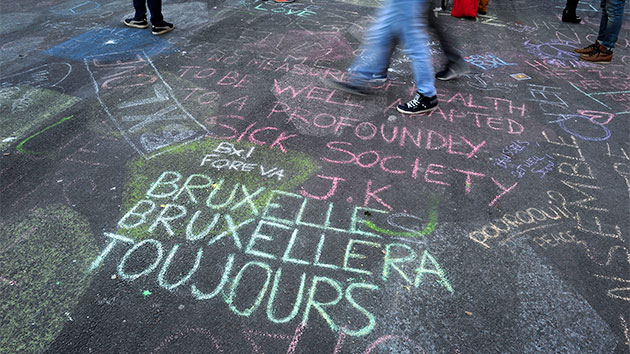 Citizens in Brussels took to downtown to write messages of love and peace in the wake of horrific terror attacks Tuesday. (Alexander Koerner/Getty Images)