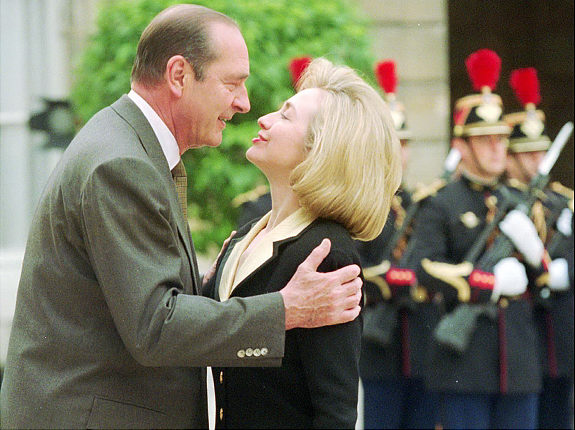 French President Jacques Chirac met Hillary Rodham Clinton as first lady in Paris in 1996. (AP / Michel Euler)