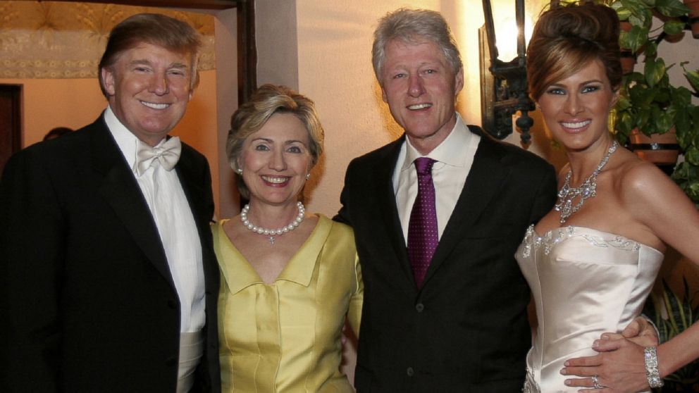 Former president Bill Clinton and his wife, 2016 presidential candidate Hillary Clinton, attended the 2005 wedding of Donald and Melania Trump. (Getty Images)