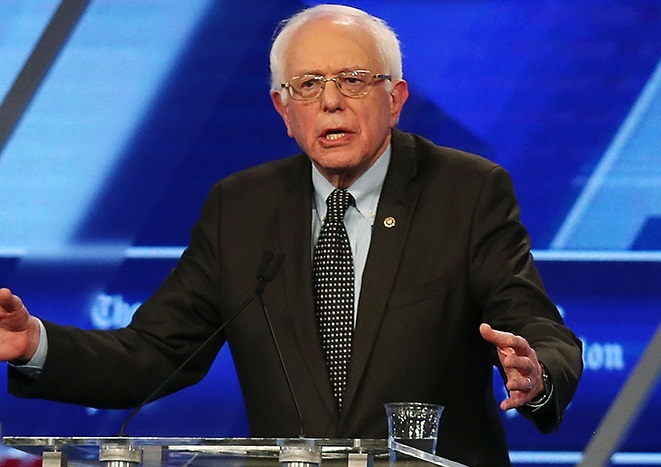 Vermont senator Bernie Sanders, fresh off a win in Michigan's Democratic presidential primary, debated last night in Miami. (Joe Raedle / Getty Images)
