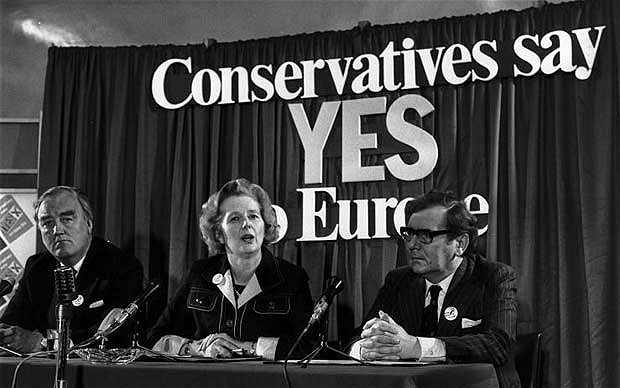 Labour prime minister Harold Wilson joined forces with rising Conservative star Margaret Thatcher to support the camp that wanted the British to remain part of Europe in the 1975 referendum.