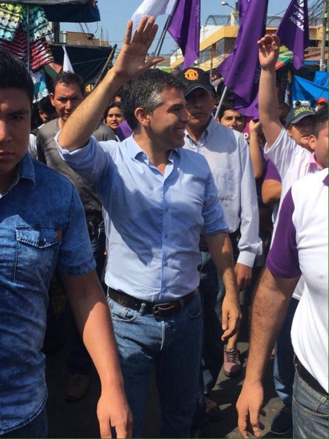 Julio Guzmán campaigns in Trujillo, Peru, in February, a month before his candidacy was invalidated. (Facebook)