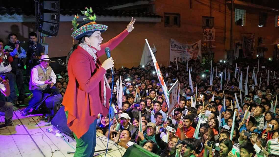 Verónika Mendoza, a left-wing member of Peru's Congress, is tied for second place in Sunday's presidential vote. (Facebook)
