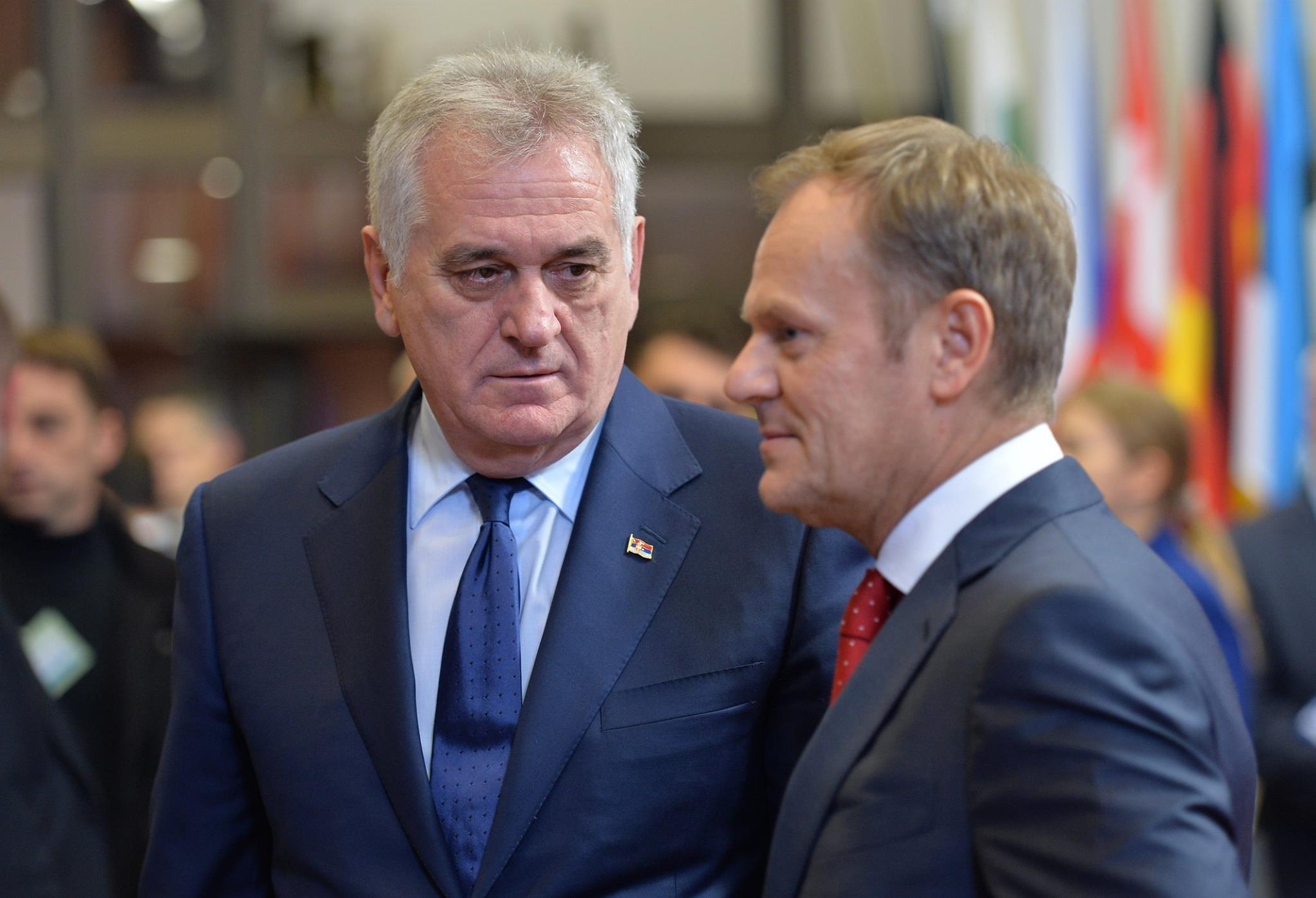 Serbian president Tomislav Nikolić met with European Council president Donald Tusk in December as part of ongoing EU accession negotiations. (Facebook / Aydemir Dursun)