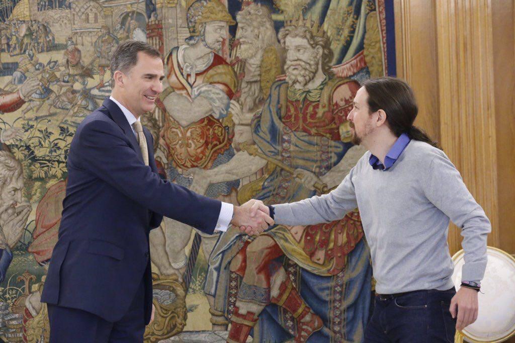 Top Podemos spokesperson Pablo Iglesias met Spain's king, Felipe VI, for coalition talks earlier this year. (Facebook)