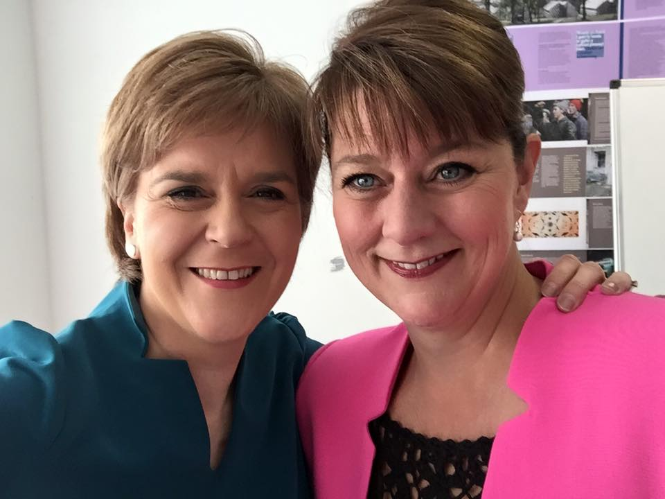 Plaid Cymru's leader Leanne Wood (right) is a popular left-wing Welsh nationalist, but she doesn't command regional politics like Scottish first minister Nicola Sturgeon in Scotland. (Facebook)
