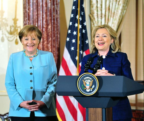 Former US secretary of state Hillary Clinton might find in German chancellor Angela Merkel a role model in the era of Trump (State Department)
