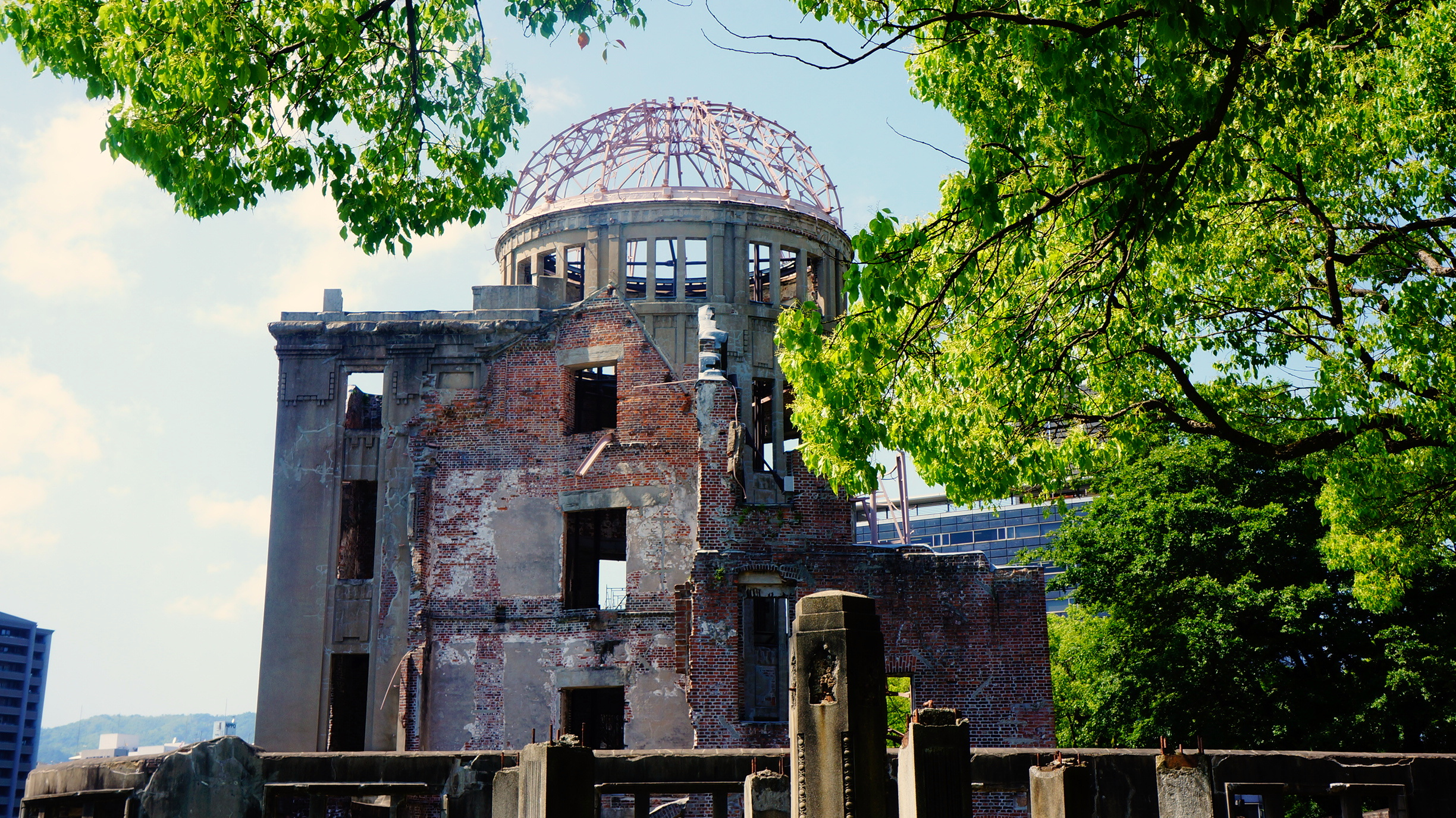 The remains of a Czech-designed exhibition hall, all that was left in the epicenter of the atomic bomb that dropped on Hiroshima on August 6, 1945, now stands as the Peace Memorial in downtown Hiroshima.