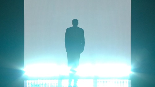 Donald Trump enters the convention stage on the first night of the Republican gathering in Cleveland.