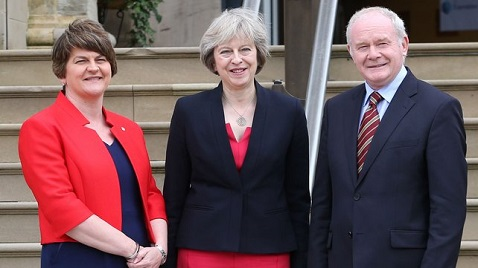 The new UK prime minister Theresa May traveled to Northern Ireland earlier this week to meet first minister Arlene Foster and deputy first minister Martin McGuinness. (RTE)