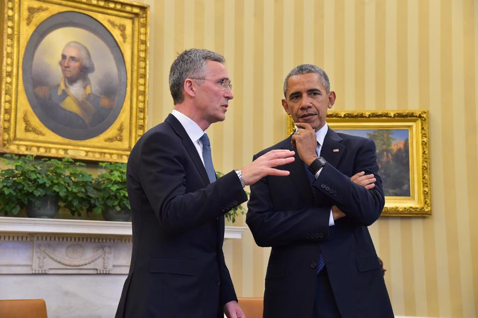 NATO secretary-general Jens Stoltenberg, meeting earlier this year with US president Barack Obama, has challenged Donald Trump's criticisms of NATO. (Facebook)