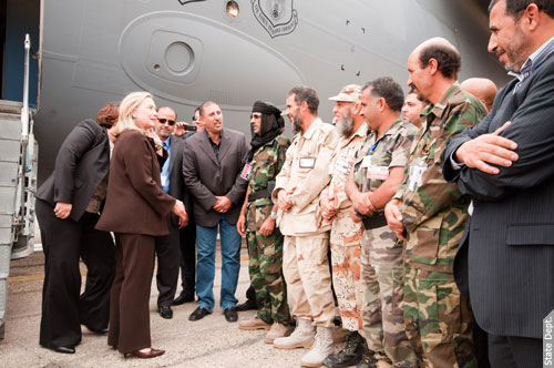 Then-US secretary of state Hillary Clinton visits American troops in Tripoli in 2011. (US Embassy in Libya)