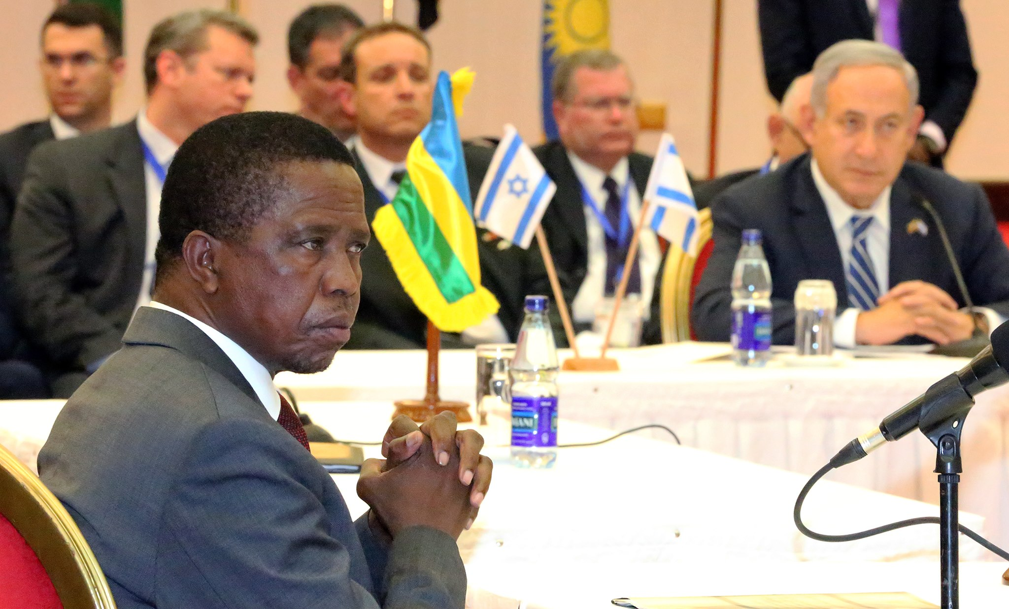 Zambian president Edgar Lungu, pictured here in a meeting with Israel prime minister Benjamin Netanyahu, hopes to win reelection to a full five-year term this week. (Facebook)