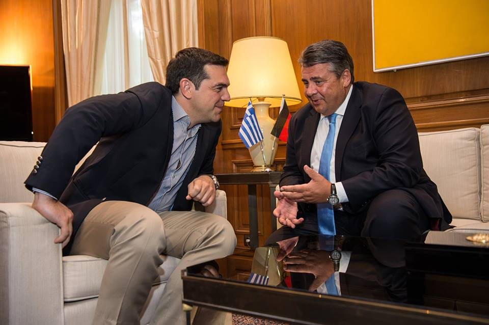 Effective vice chancellor and economy minister though he may be, SPD leader Sigmar Gabriel (pictured, right, with Greek prime minister Alexis Tsipras) hardly seems charismatic enough to defeat Merkel in 2017. (Facebook)