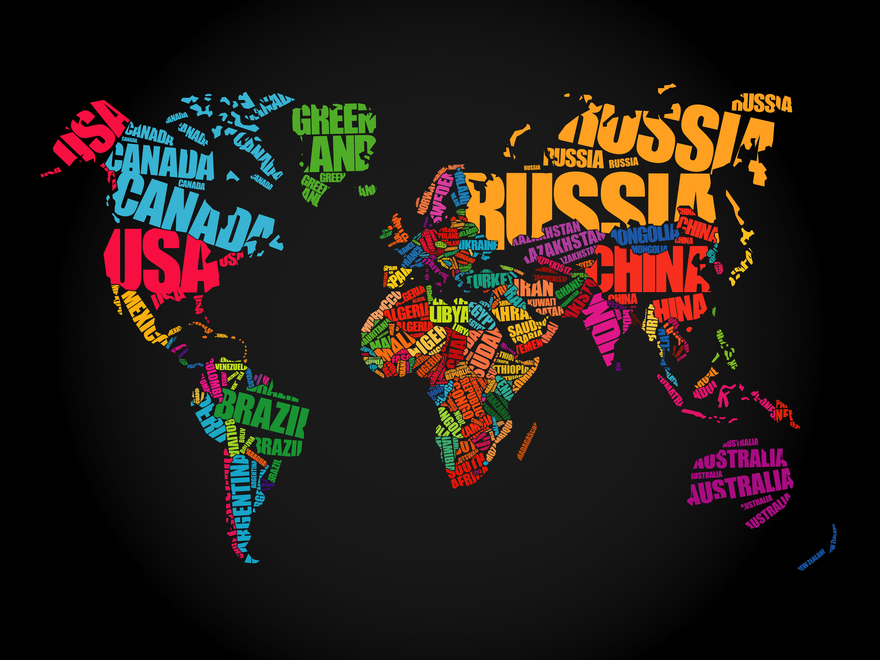 Calendar Typography Map : World map in typography word cloud concept